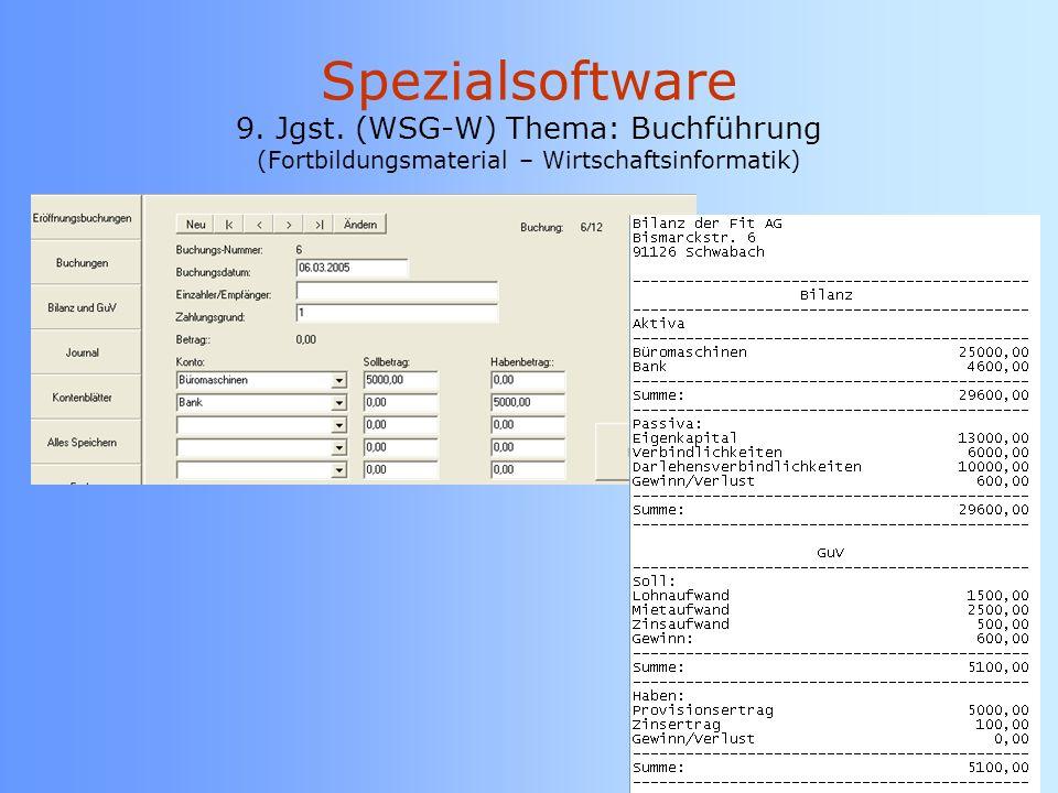 Spezialsoftware 9. Jgst. (WSG-W) Thema: Buchführung (Fortbildungsmaterial – Wirtschaftsinformatik)