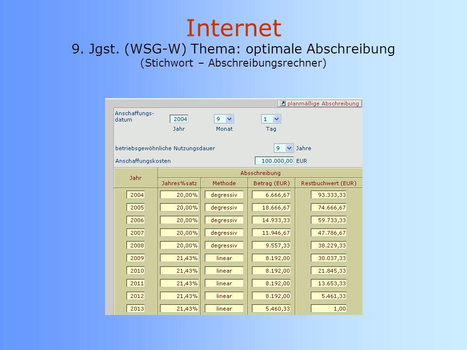 Internet 9. Jgst. (WSG-W) Thema: optimale Abschreibung (Stichwort – Abschreibungsrechner)