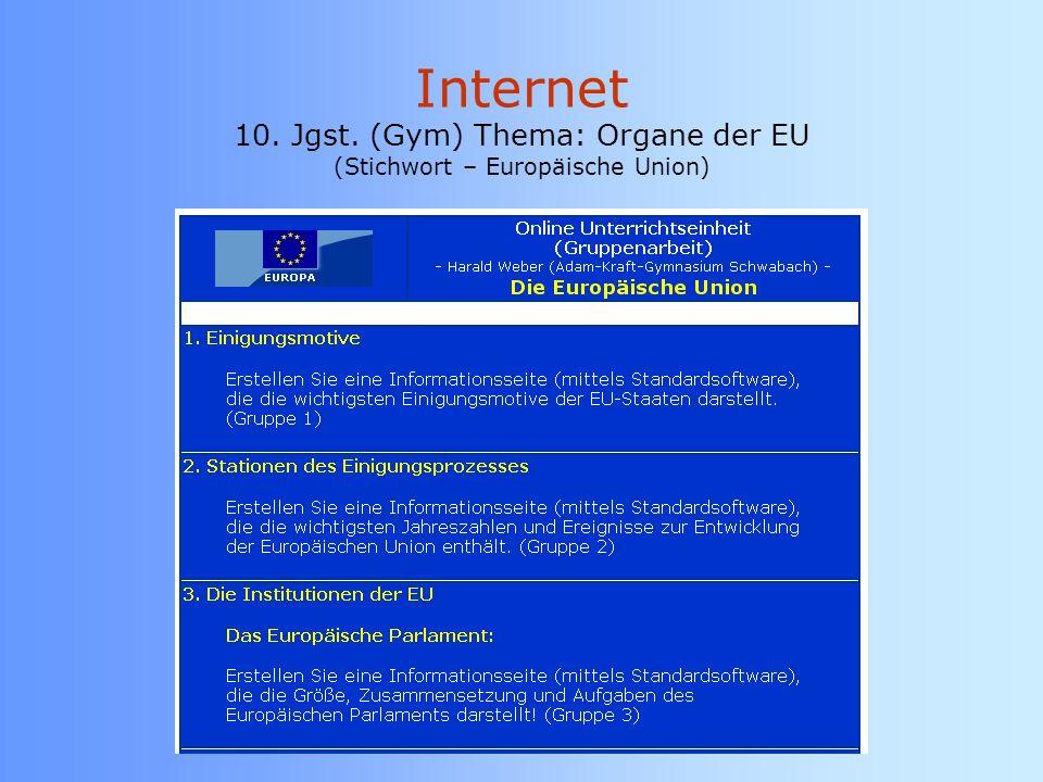 Internet 10. Jgst. (Gym) Thema: Organe der EU (Stichwort – Europäische Union)