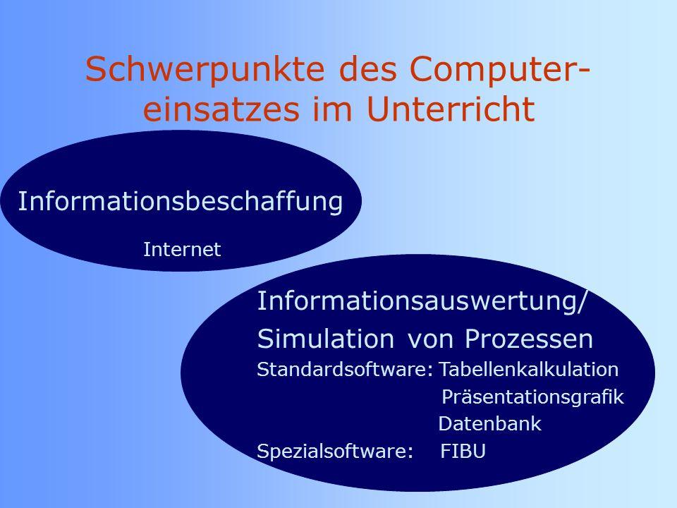 Schwerpunkte des Computer- einsatzes im Unterricht
