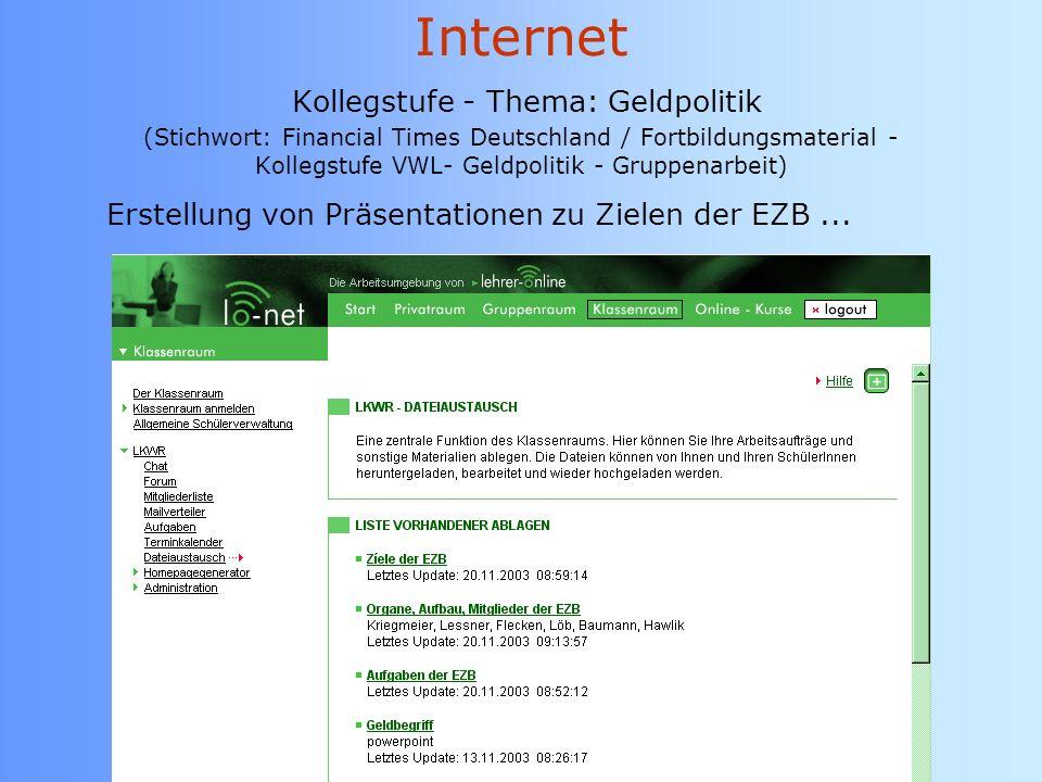 Internet Kollegstufe - Thema: Geldpolitik (Stichwort: Financial Times Deutschland / Fortbildungsmaterial - Kollegstufe VWL- Geldpolitik - Gruppenarbeit)