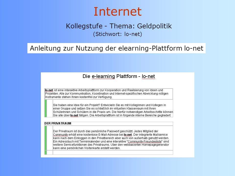 Internet Kollegstufe - Thema: Geldpolitik (Stichwort: lo-net)