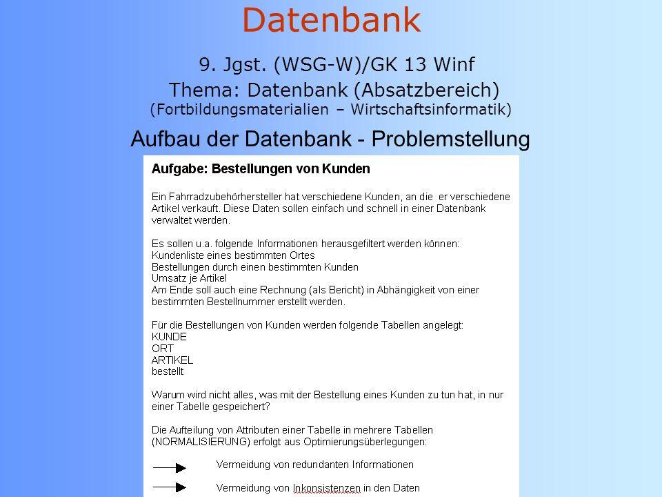 Aufbau der Datenbank - Problemstellung