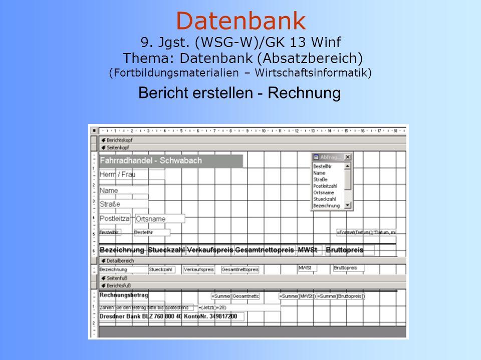 Bericht erstellen - Rechnung