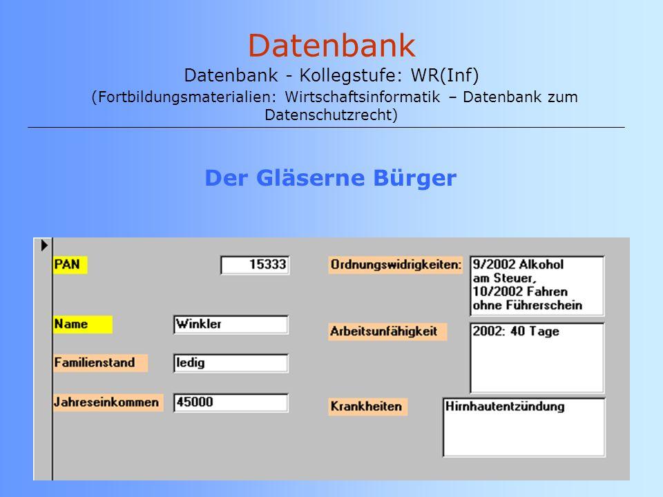 Datenbank Datenbank - Kollegstufe: WR(Inf) (Fortbildungsmaterialien: Wirtschaftsinformatik – Datenbank zum Datenschutzrecht)