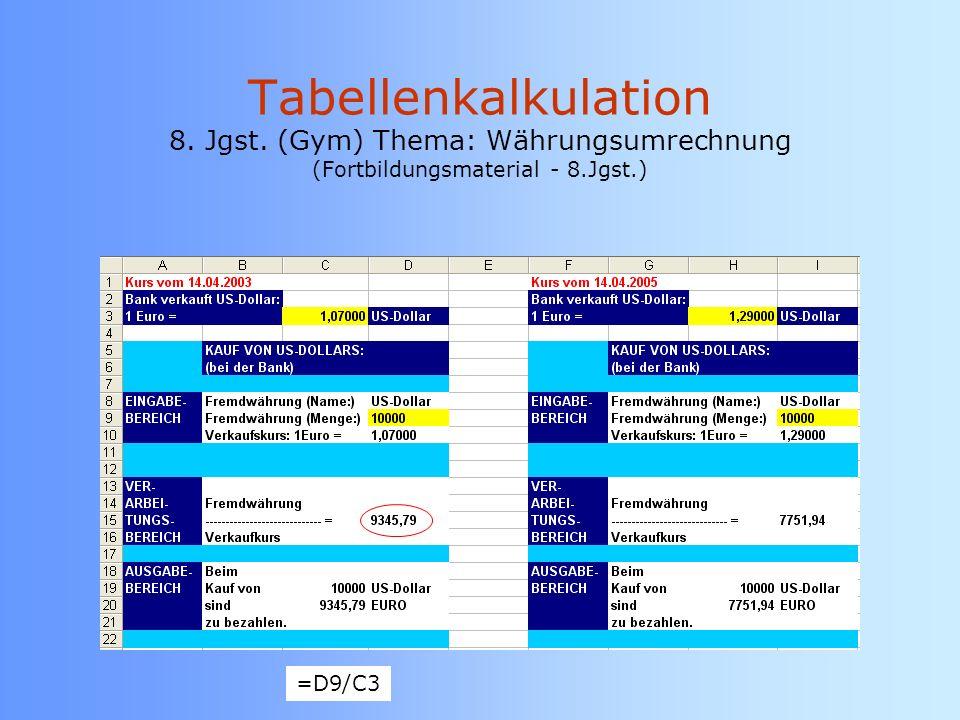 Tabellenkalkulation 8. Jgst