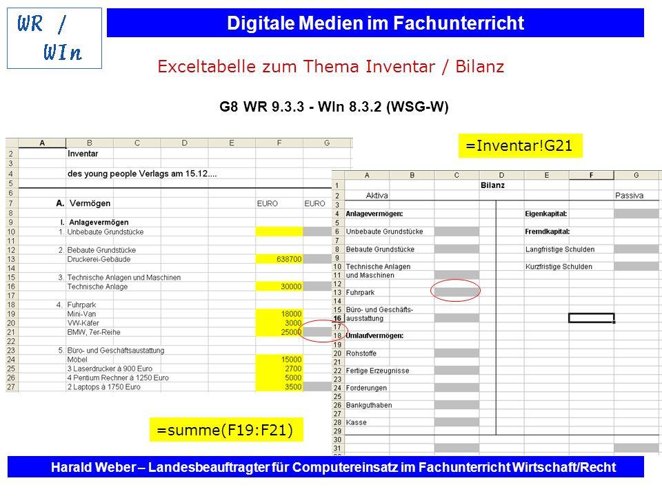 Exceltabelle zum Thema Inventar / Bilanz G8 WR 9. 3. 3 - WIn 8. 3