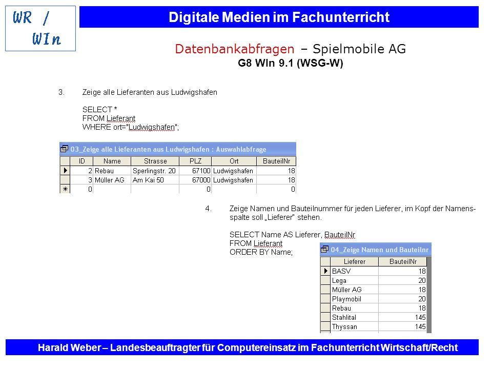 Datenbankabfragen – Spielmobile AG G8 WIn 9.1 (WSG-W)