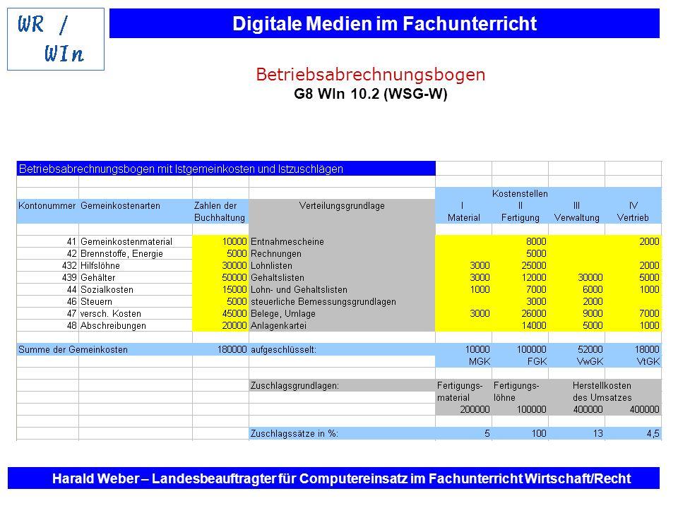 Betriebsabrechnungsbogen G8 WIn 10.2 (WSG-W)