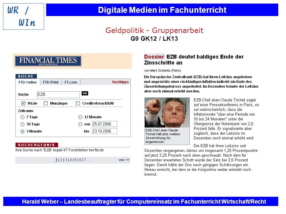 Geldpolitik - Gruppenarbeit G9 GK12 / LK13
