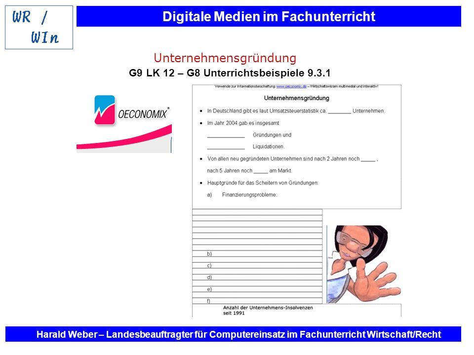 Unternehmensgründung G9 LK 12 – G8 Unterrichtsbeispiele 9.3.1