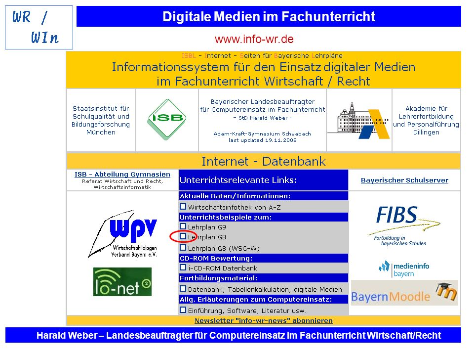 www.info-wr.de Harald Weber – Landesbeauftragter für Computereinsatz im Fachunterricht Wirtschaft/Recht.