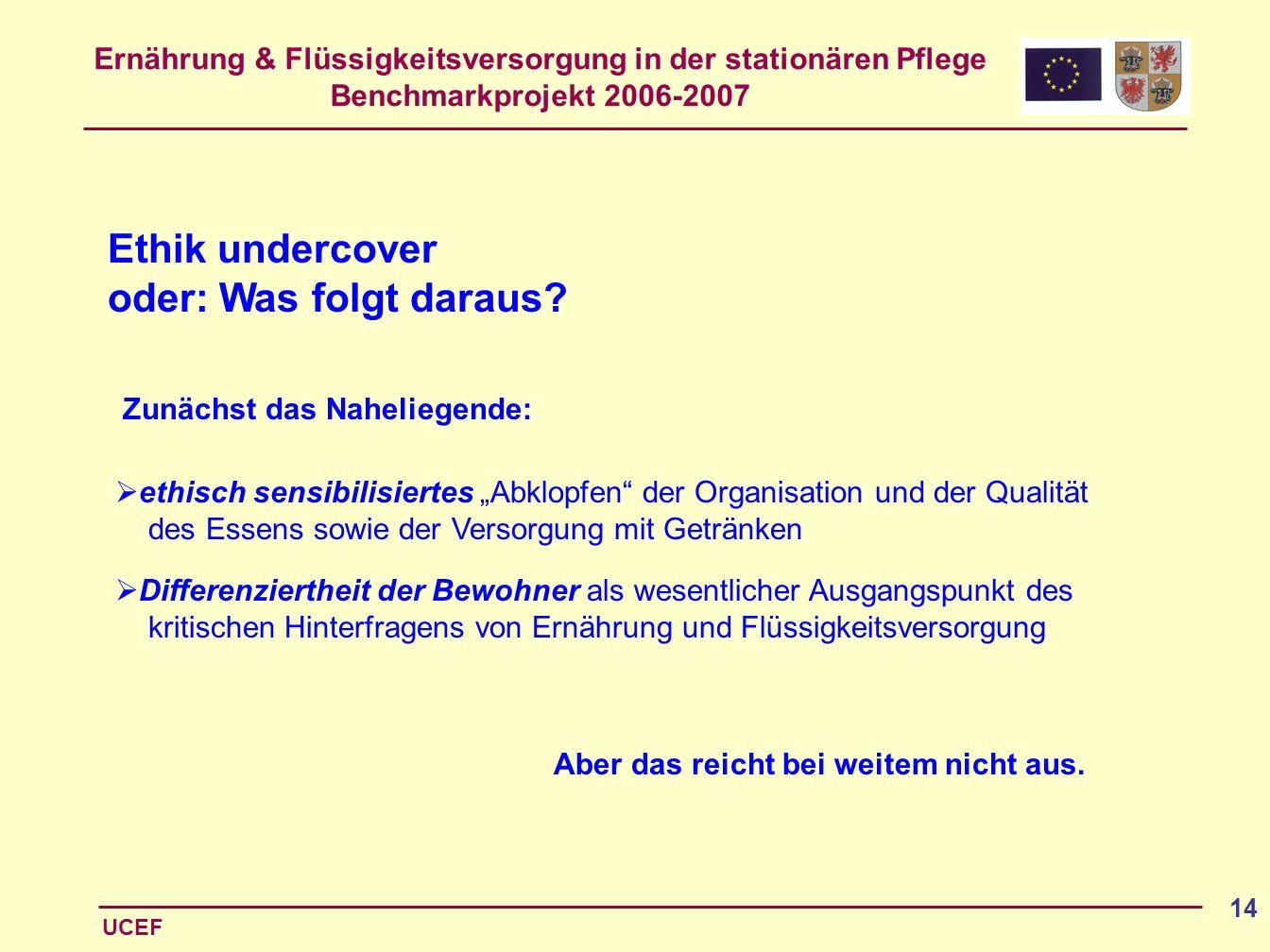 Ethik undercover oder: Was folgt daraus Zunächst das Naheliegende: