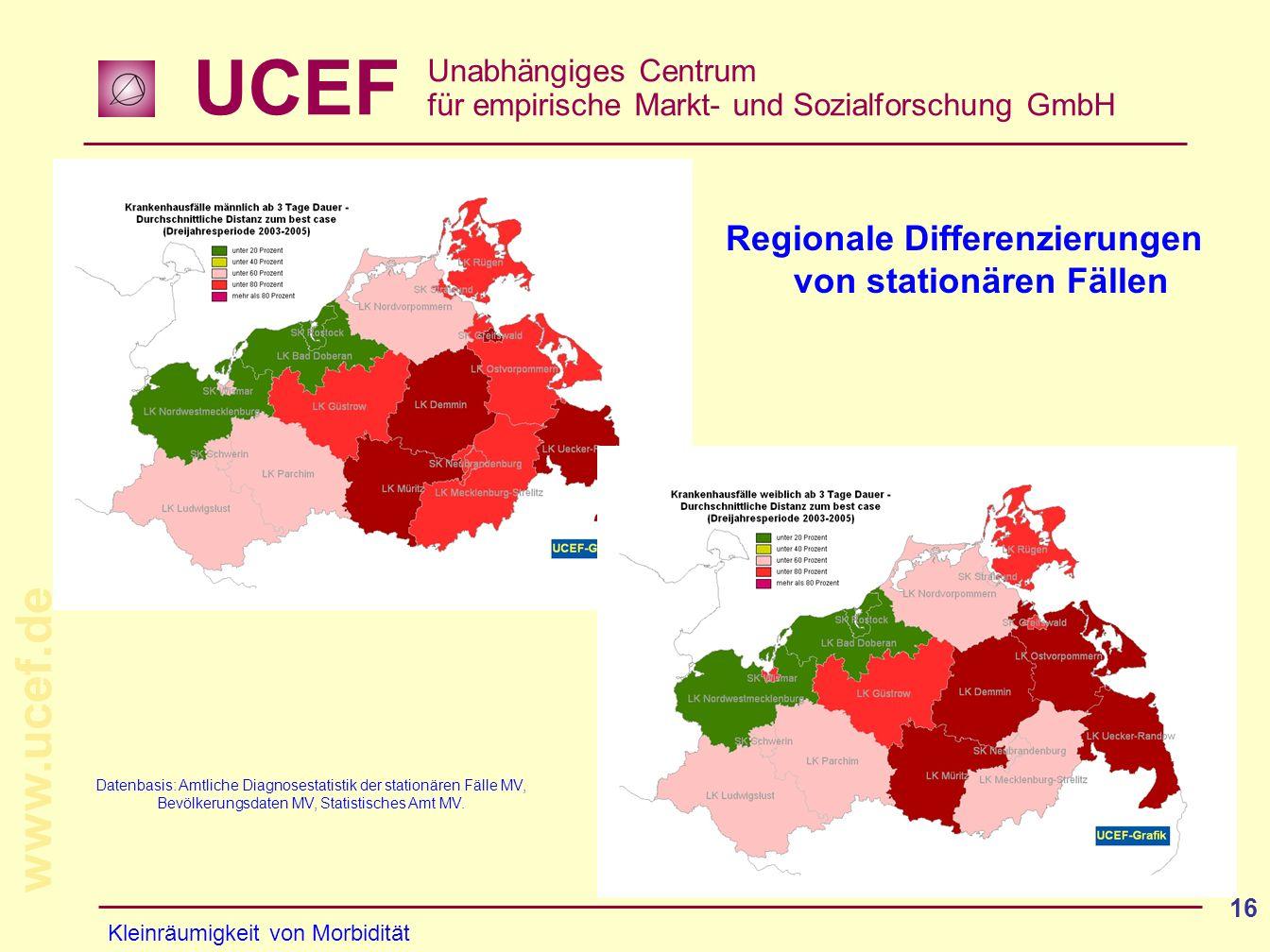 Regionale Differenzierungen von stationären Fällen