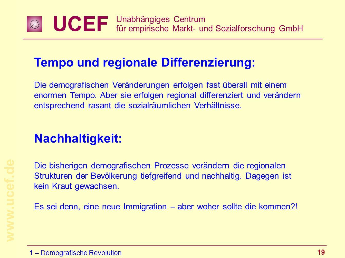Tempo und regionale Differenzierung: