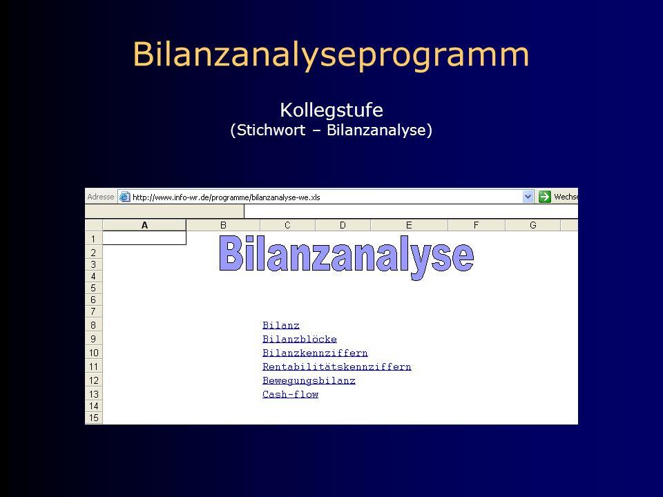 Bilanzanalyseprogramm Kollegstufe (Stichwort – Bilanzanalyse)