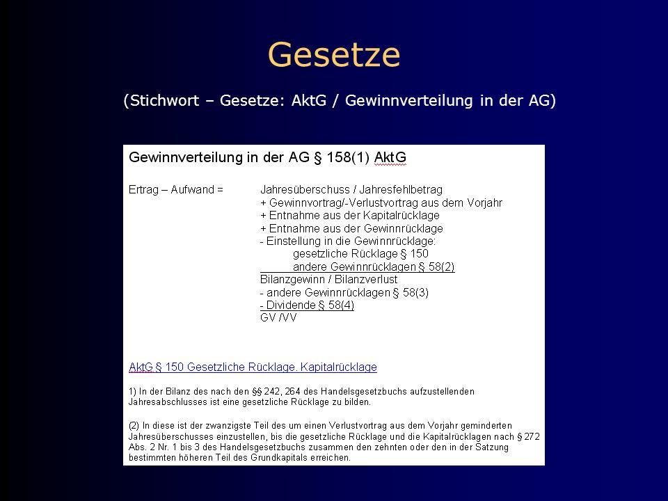 Gesetze (Stichwort – Gesetze: AktG / Gewinnverteilung in der AG)