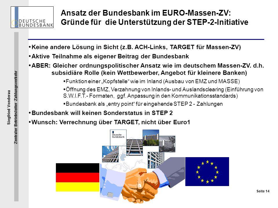 Ansatz der Bundesbank im EURO-Massen-ZV: Gründe für die Unterstützung der STEP-2-Initiative