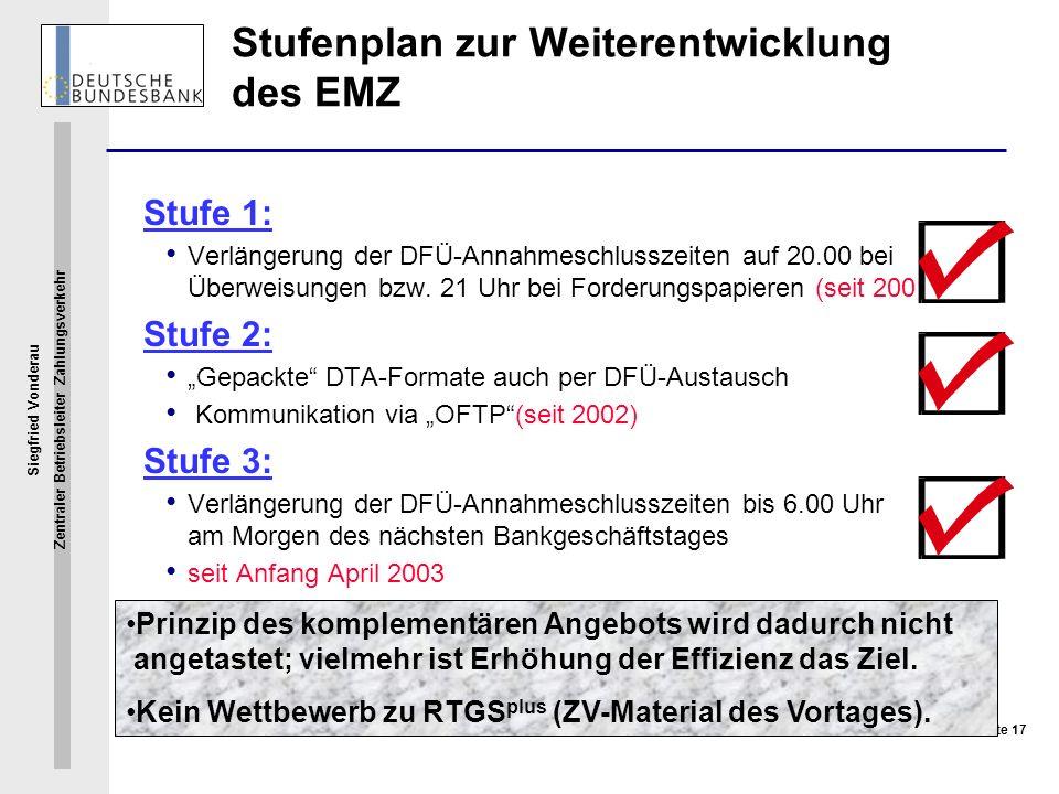 Stufenplan zur Weiterentwicklung des EMZ