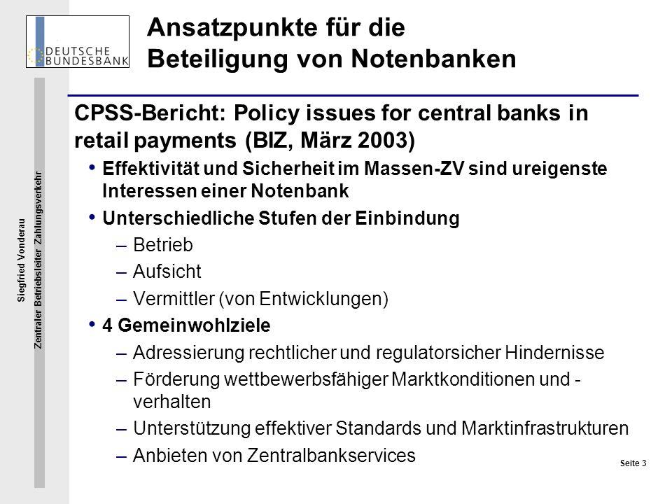 Ansatzpunkte für die Beteiligung von Notenbanken