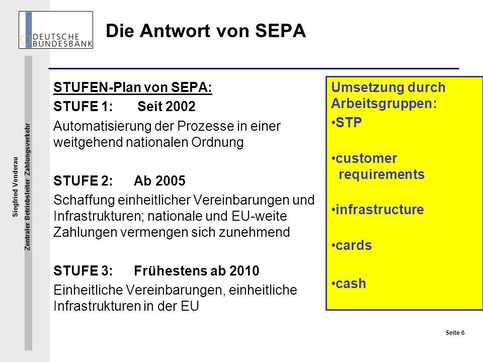 Die Antwort von SEPA STUFEN-Plan von SEPA: STUFE 1: Seit 2002