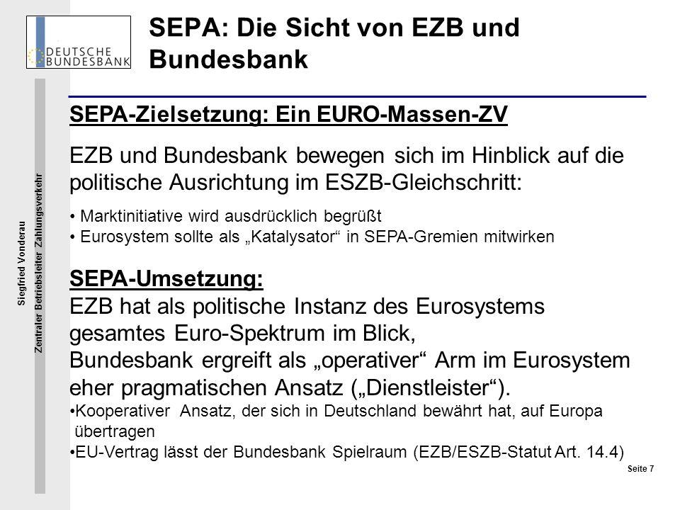 SEPA: Die Sicht von EZB und Bundesbank