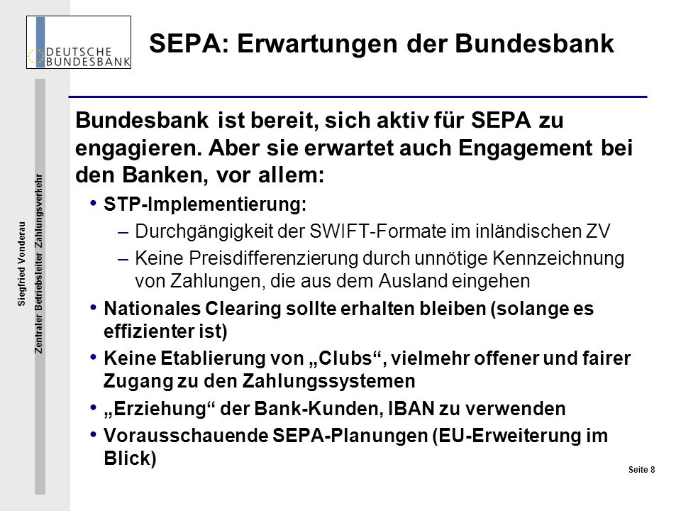 SEPA: Erwartungen der Bundesbank