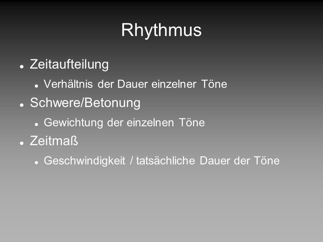Rhythmus Zeitaufteilung Schwere/Betonung Zeitmaß