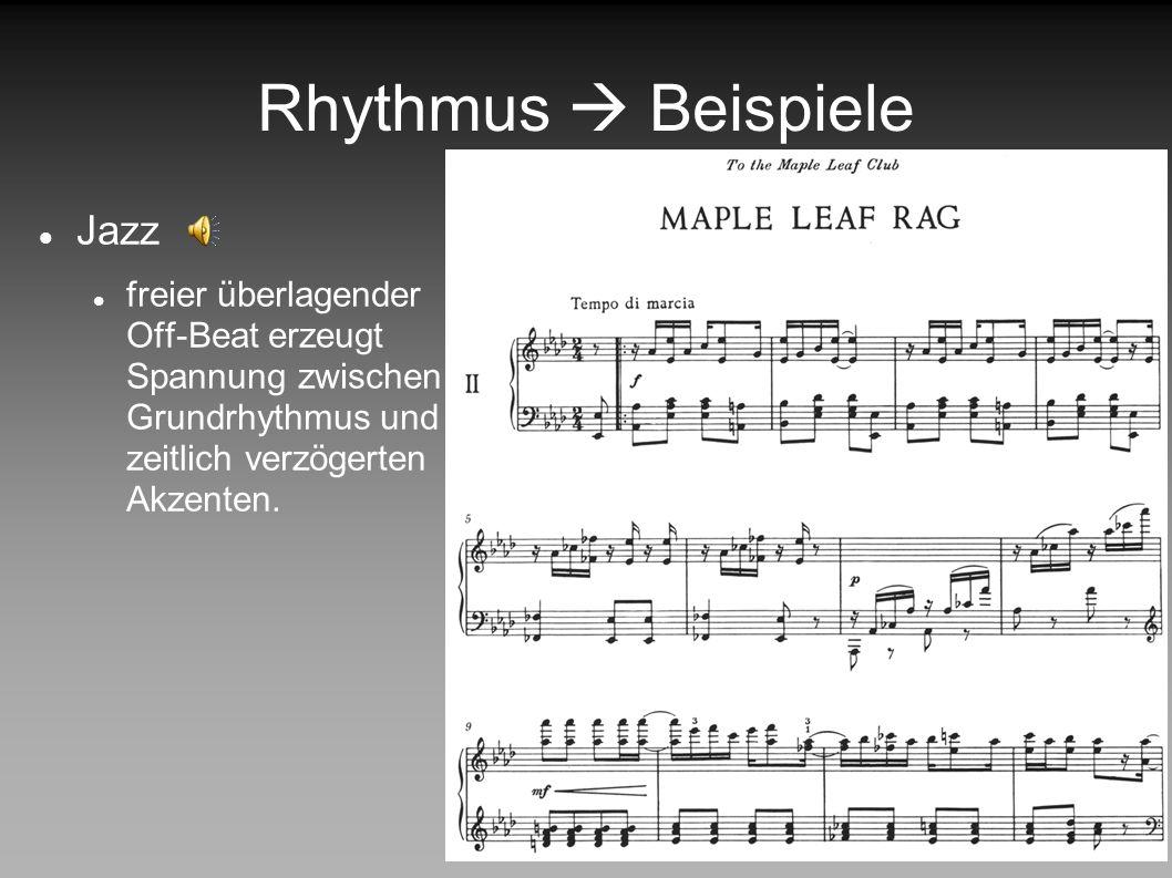 Rhythmus  Beispiele Jazz