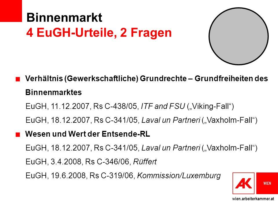 Binnenmarkt 4 EuGH-Urteile, 2 Fragen