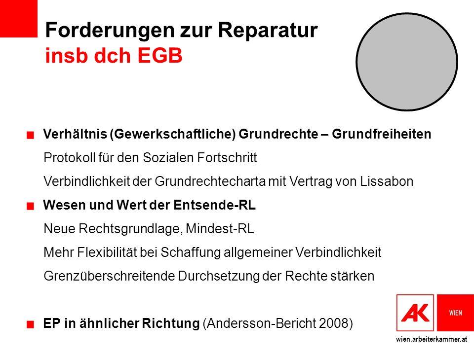 Forderungen zur Reparatur insb dch EGB