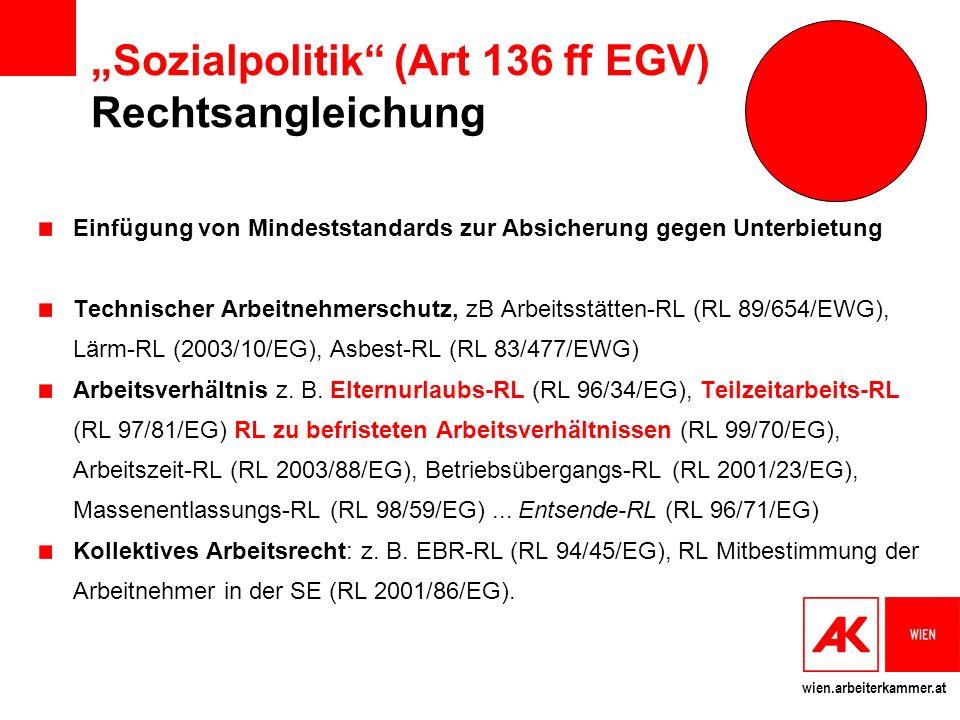 """""""Sozialpolitik (Art 136 ff EGV) Rechtsangleichung"""