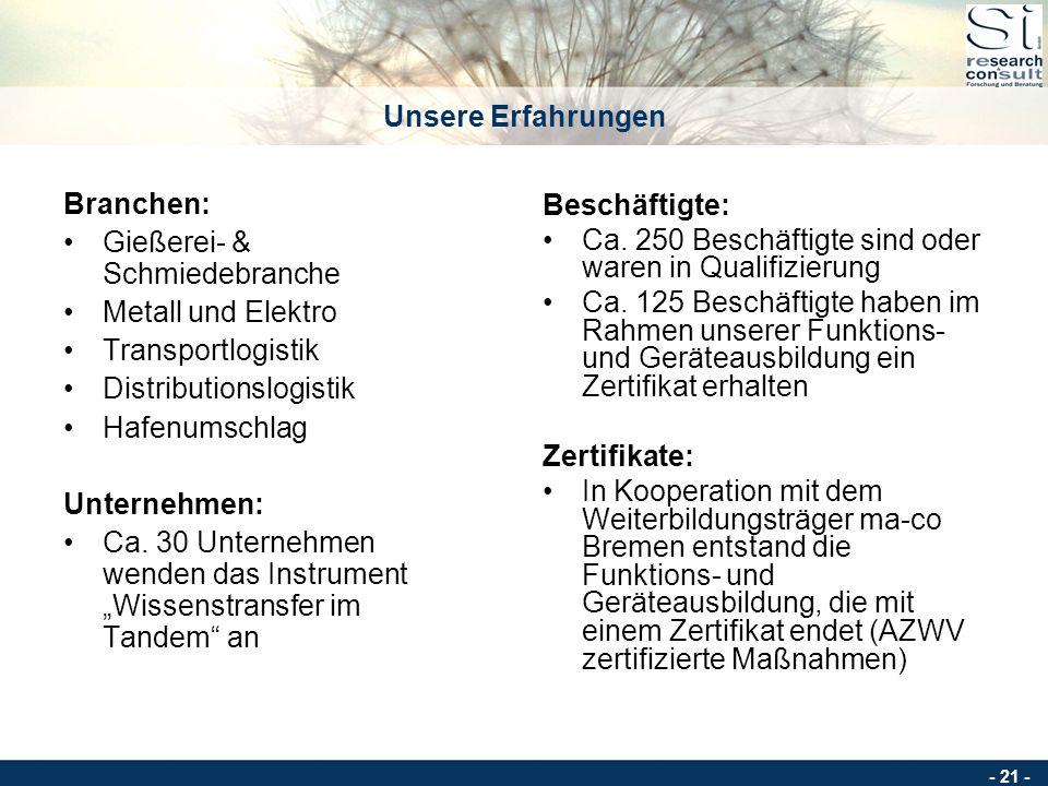 Unsere Erfahrungen Branchen: Gießerei- & Schmiedebranche. Metall und Elektro. Transportlogistik.