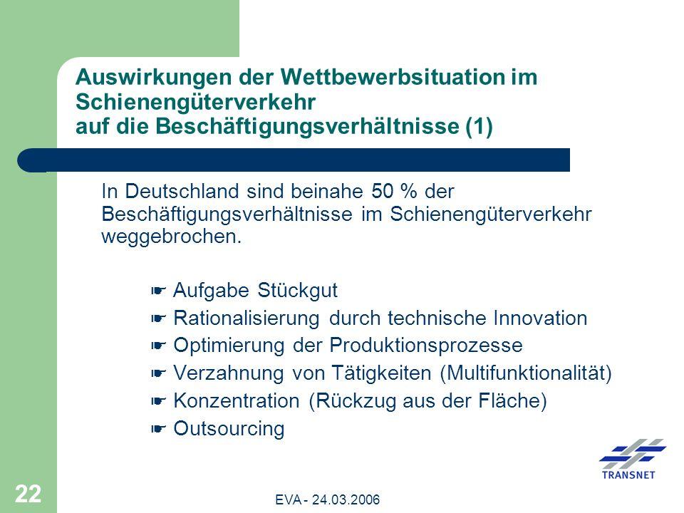 Auswirkungen der Wettbewerbsituation im Schienengüterverkehr auf die Beschäftigungsverhältnisse (1)
