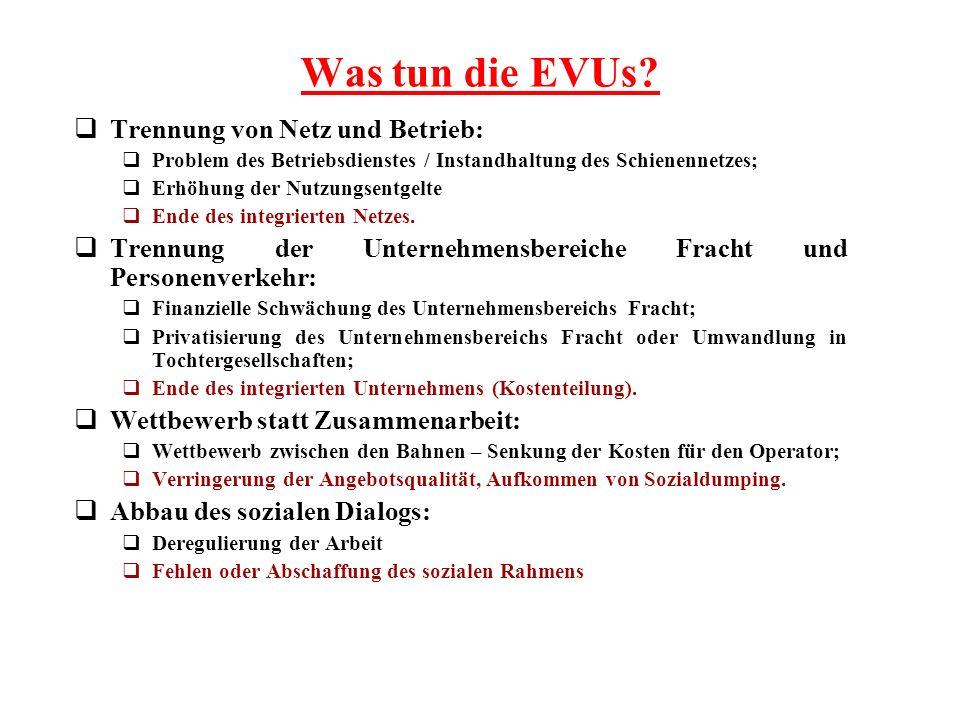 Was tun die EVUs Trennung von Netz und Betrieb: