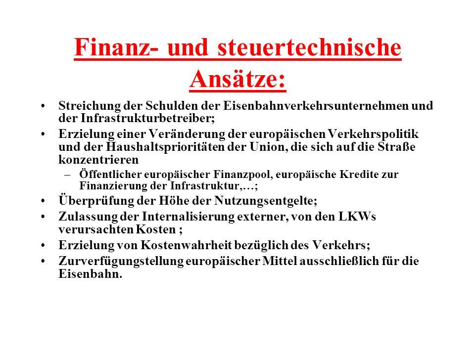 Finanz- und steuertechnische Ansätze: