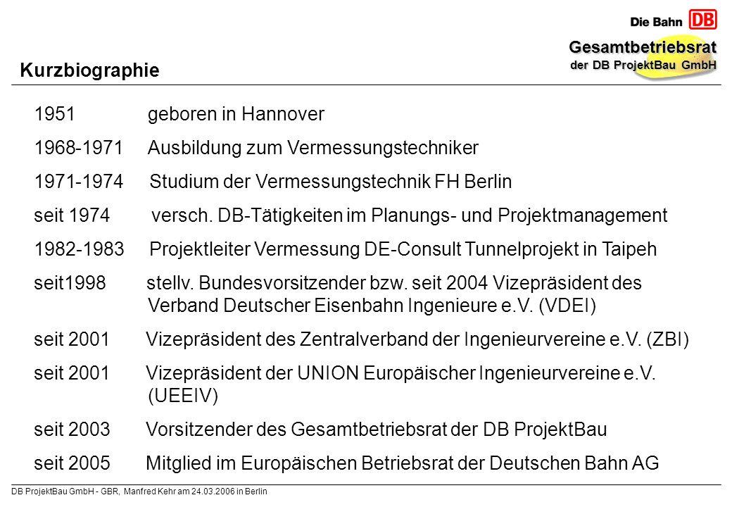 Kurzbiographie geboren in Hannover. -1971 Ausbildung zum Vermessungstechniker. -1974 Studium der Vermessungstechnik FH Berlin.