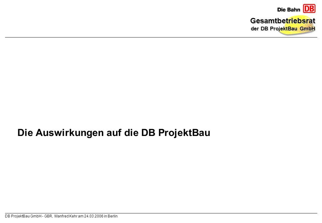 Die Auswirkungen auf die DB ProjektBau