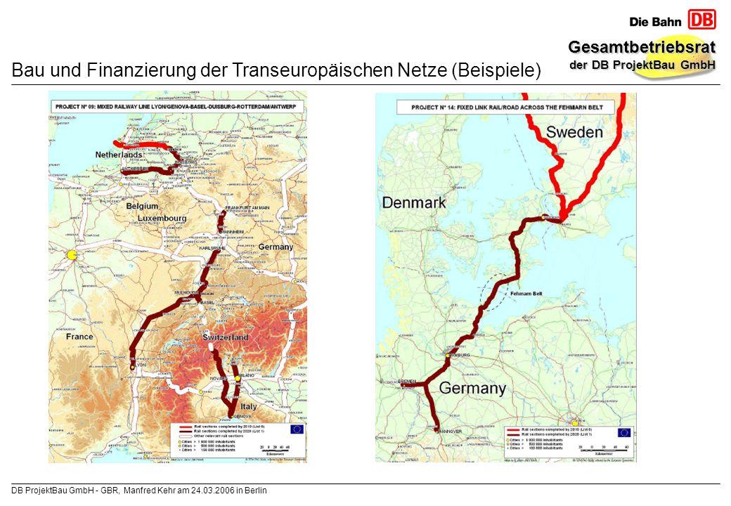 Bau und Finanzierung der Transeuropäischen Netze (Beispiele)