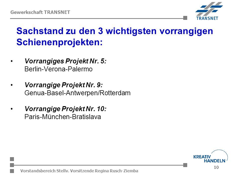 Sachstand zu den 3 wichtigsten vorrangigen Schienenprojekten: