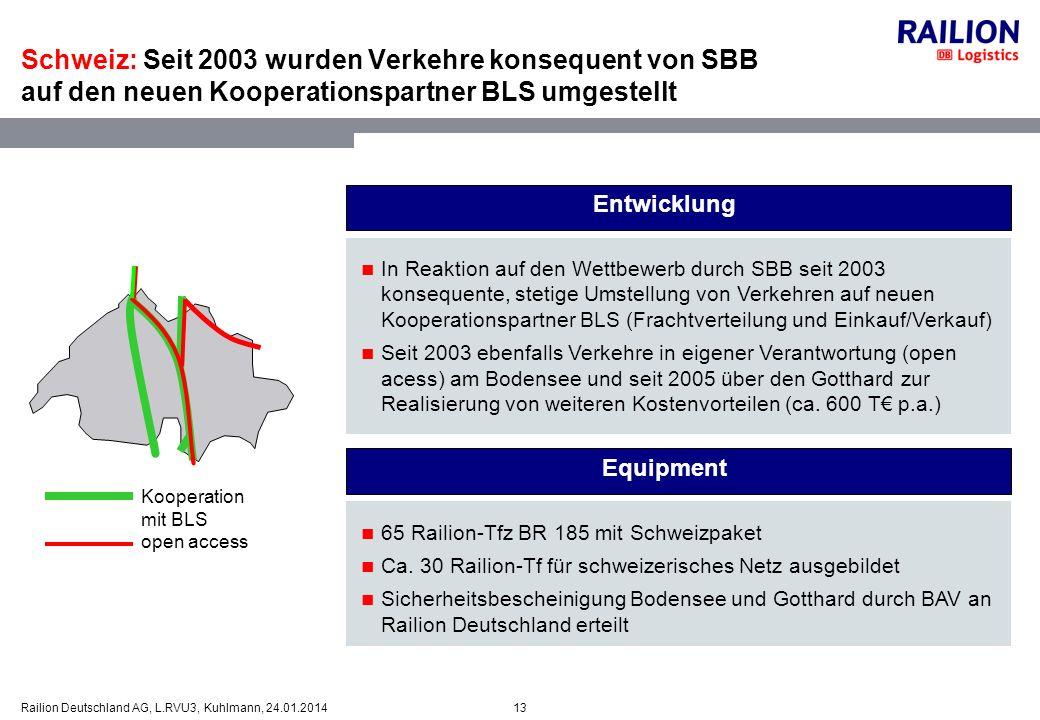 Schweiz: Seit 2003 wurden Verkehre konsequent von SBB auf den neuen Kooperationspartner BLS umgestellt