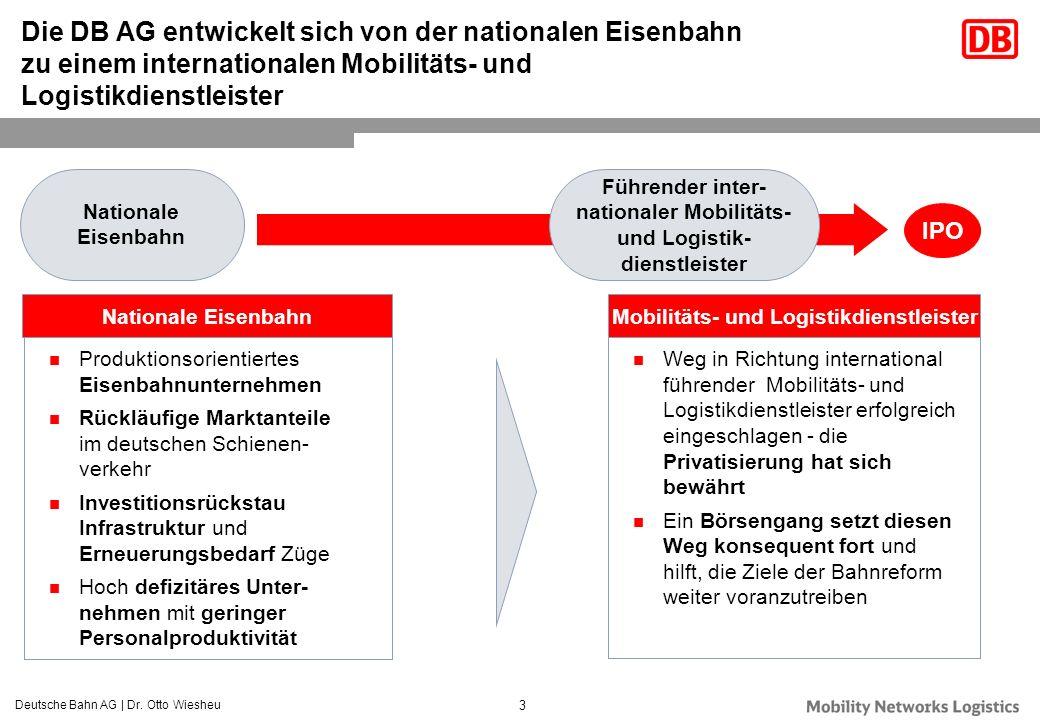 Die DB AG entwickelt sich von der nationalen Eisenbahn zu einem internationalen Mobilitäts- und Logistikdienstleister