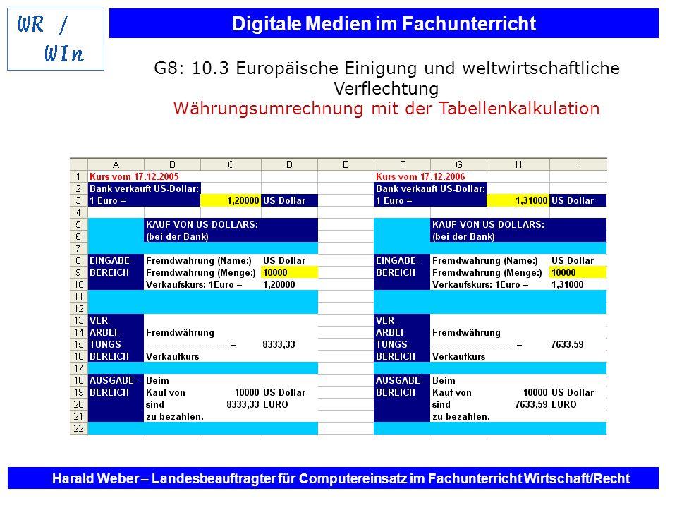 G8: 10.3 Europäische Einigung und weltwirtschaftliche Verflechtung Währungsumrechnung mit der Tabellenkalkulation