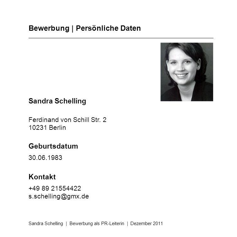 Bewerbung | Persönliche Daten