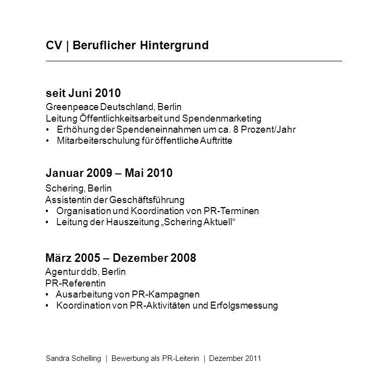 CV | Beruflicher Hintergrund