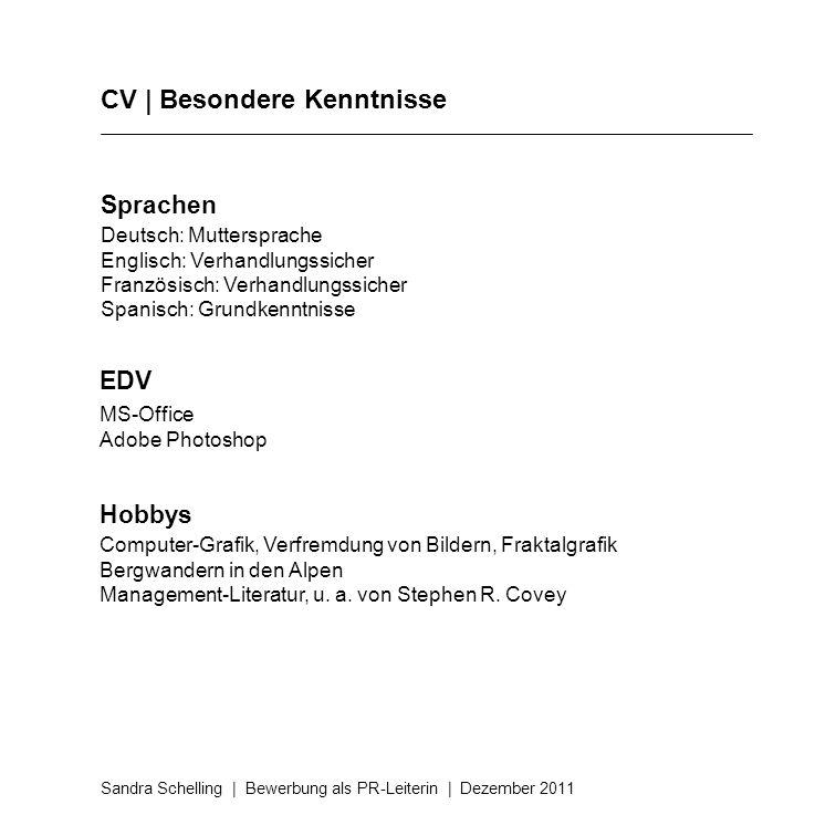 CV | Besondere Kenntnisse