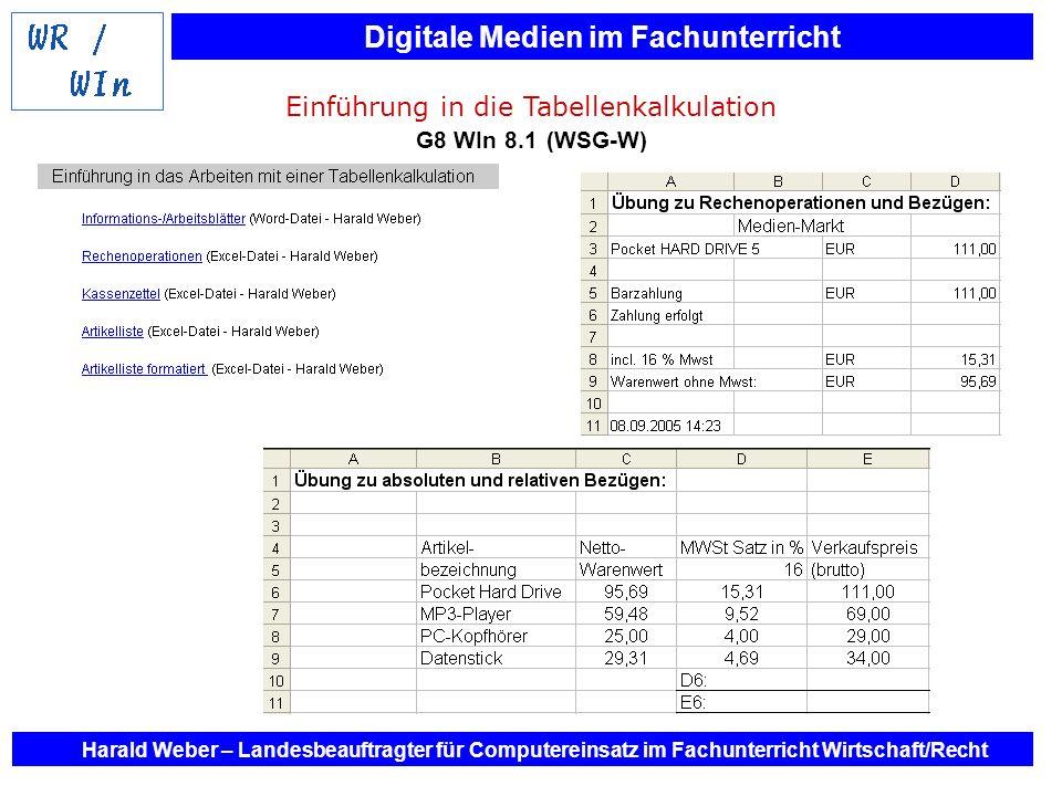 Einführung in die Tabellenkalkulation G8 WIn 8.1 (WSG-W)