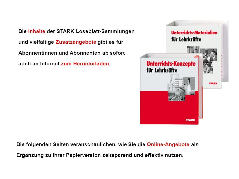 Die Inhalte der STARK Loseblatt-Sammlungen und vielfältige Zusatzangebote gibt es für Abonnentinnen und Abonnenten ab sofort auch im Internet zum Herunterladen.