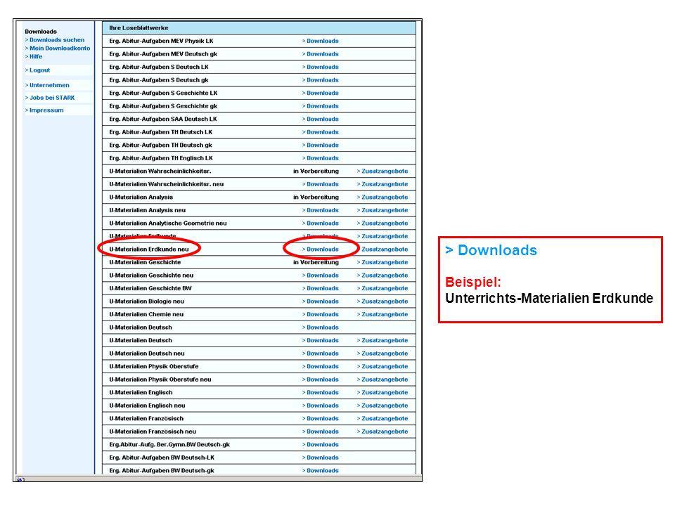 > Downloads Beispiel: Unterrichts-Materialien Erdkunde