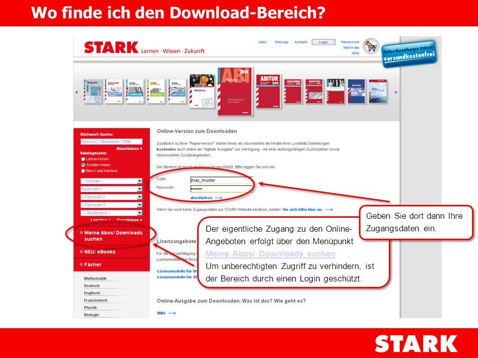Wo finde ich den Download-Bereich